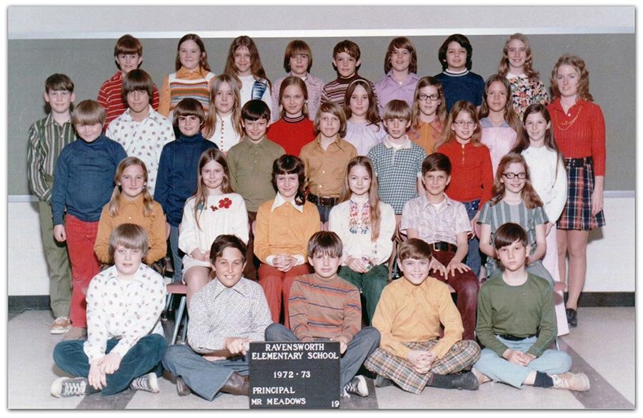 Fifth grade class photograph taken during the 1972 to 1973 school year. 33 children and a female teacher are pictured.