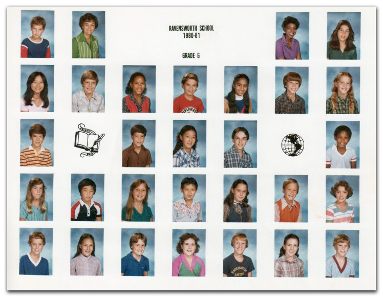 Ms. Haynes sixth grade class photograph taken during the 1980 to 1981 school year. Two adults and 28 children are pictured.