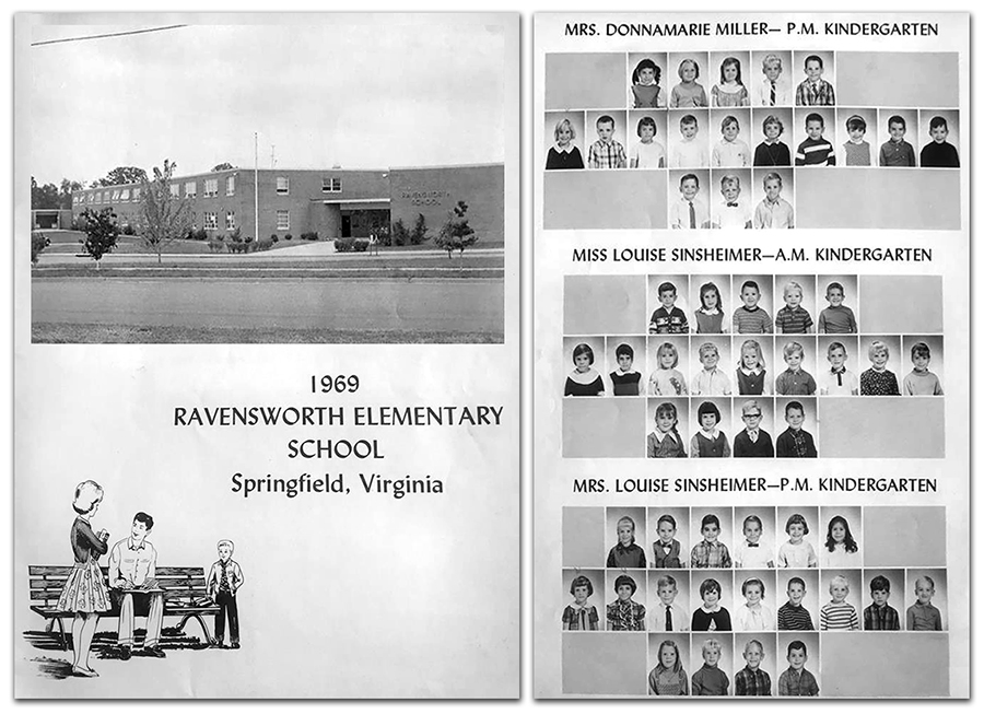 Photographs of two pages from the 1969 Ravensworth Classbook. On the left is a picture of the first page which has a photograph of the front of the school. The second picture, on the right, is of the kindergarten class page.