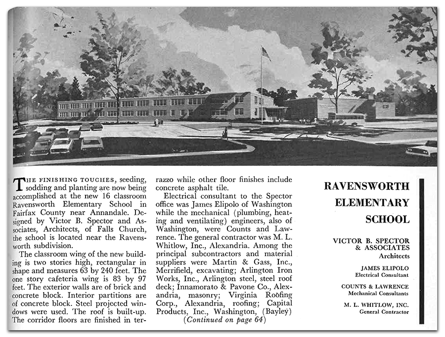 Black and white photograph a magazine article printed in 1963 describing the construction of Ravensworth Elementary School. At the top of the article is design concept artwork for the school.